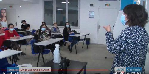 Reportage France 3 formation AES à INITIATIVES avec CFA Sanitaire & social et UNAPEI 34